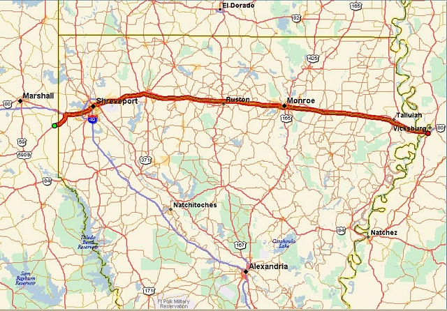 I 20 Louisiana Map.Route Overview